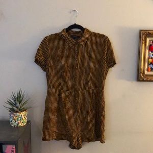 Yellow and black patterned romper size large